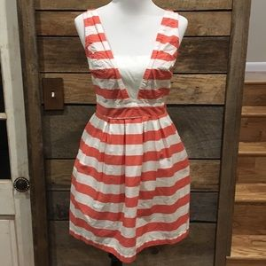 Red Camel striped summer dress with pockets size L
